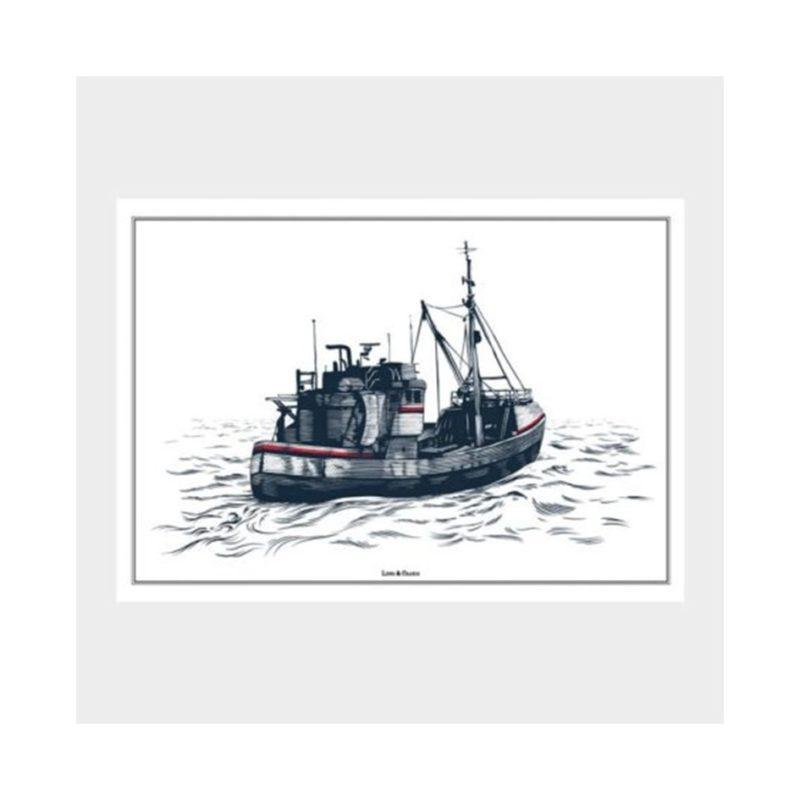 Lions and cranes Fishing Boat Poster