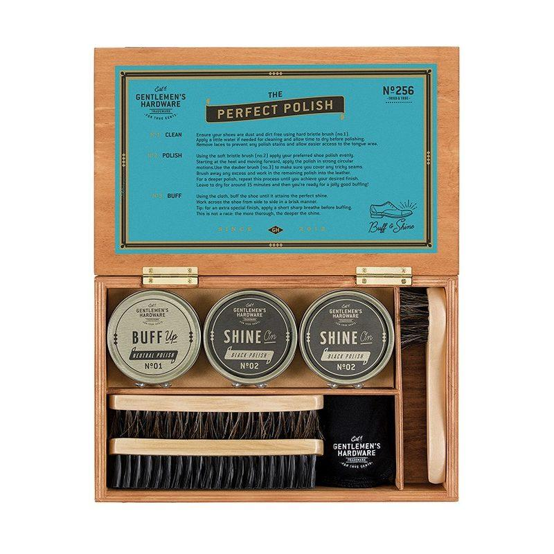 Gentlemens Hardware Shoe Shine in Wood Box
