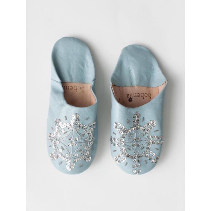 Babouche Slippers pearl grey with sequin S – Cilla's